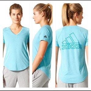 adidas Women's Image Logo Id V-Neck Short Sleeve T